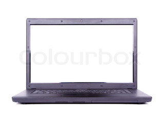 Black portable computer with white screen isolated