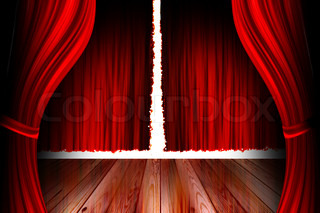 red theater stage with open curtain