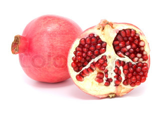 Pomegranate fruit, isolated on white background