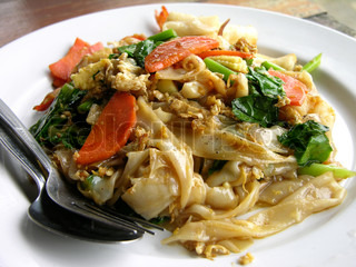 Noodles with chicken and vegetables in Thailand restaurant