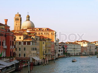Early summer evening on Grand Canal in Venice, Italy