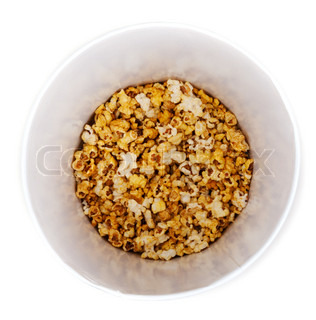 PopCorn in pail on insulated white background