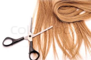 Lange braune Haare Stil isoliert auf weißem Hintergrund