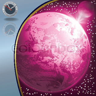 abstract illustration with clock and earth in the space