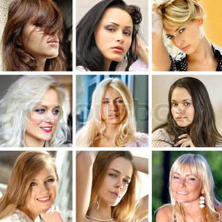 photo collage of beautiful faces of many women