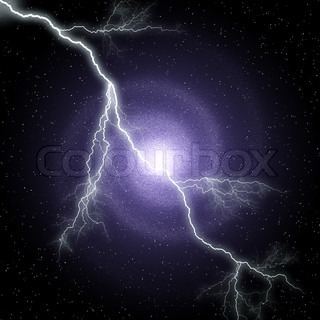 lightning against Night sky with stars and galaxy