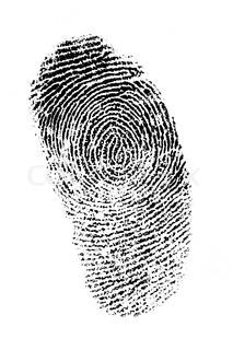 Finger print on white background, very good detail