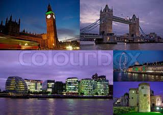 London at night in collage with several shots