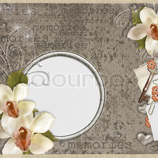 Vintage beige card for congratulations or invitation on the background with dots with orchids