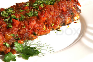 Rack of ribs with BBQ sauce