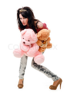 Young sexy girl with a teddy bear, isolated on white background.