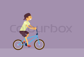 Little Boy Riding Bicycle Flat Vector ... 32a202aa965a
