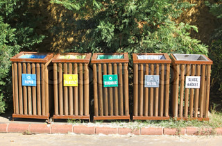 Five recycle bins for waste segregation