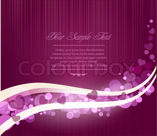 Vector romantic abstract purple background with waves and hearts