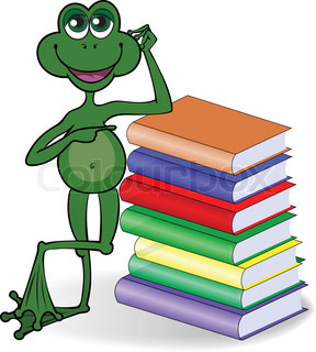 funny frog leaning on a high stack of colored books