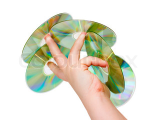 hand with a CD wearing on your fingers