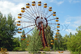 Abandoned ferris wheel in amusement park in Pripyat, Chernobyl area