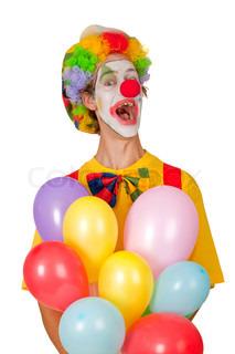 Bunte Clown mit Luftballons isoliert auf weißem Hintergrund