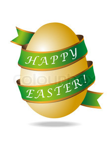 Gold easter egg with green ribbon