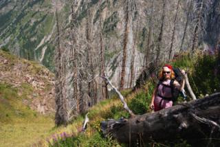 Woman hiking in hight mountain