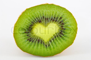 kiwi with the sign of heart