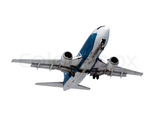 Image of an airplane isolated on a white background.