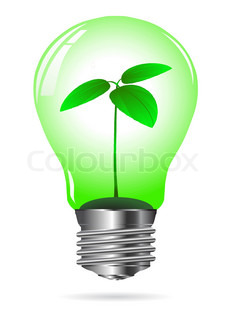 ligh bulb with green plant - vector