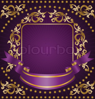 frame made from the golden ornament and silk ribbon on a purple background