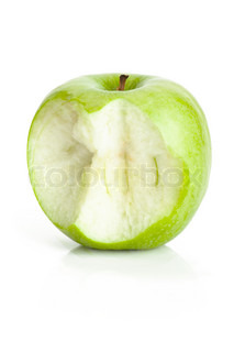 One bited green apple fruit on white background