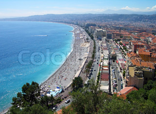Nice city beach panoramic view, Cote d'Azur, France
