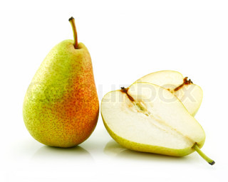 Sliced Ripe Pear Isolated on White Background