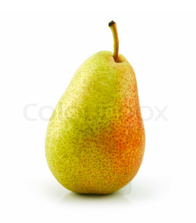 Tasty Ripe Green Pear Isolated on White Background