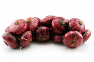 Bunch of Ripe Red Onion Isolated on White Background