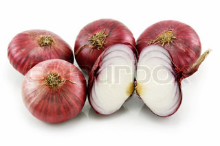 Ripe Sliced Red Onion Isolated on White Background