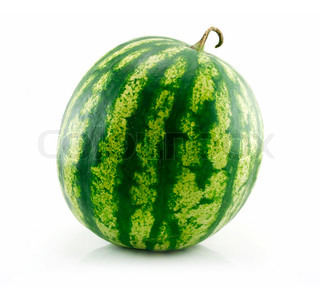 Ripe Green Watermelon Isolated on White Background