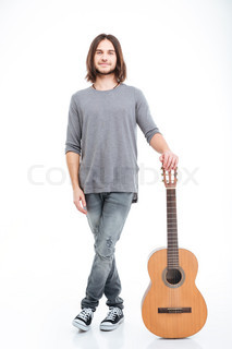 Guitarist Playing Acoustic Guitar Smiling Attractive Young Man Standing And Holding