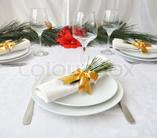 Festively decorated Christmas (New Year) a table for dinner