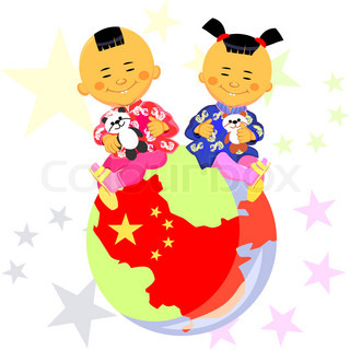 vector Chinese boy and girl  in national costume sit against the background of the globe, the stylized image of China, the Chinese flag