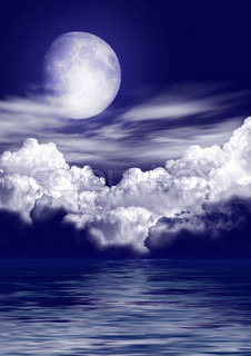 The moon in clouds over water