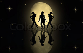 Dancing women against the moon....
