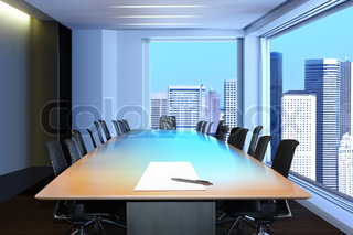 meeting room, in front focus placed sheet of paper and pen on table