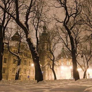 City street in winter night
