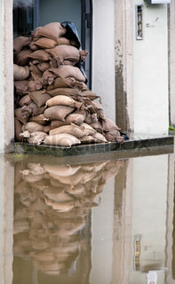 Flooding in Passau. Bavaria. Germany. Sandbags to prevent water penetration.
