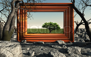 Frame with tree. A picture with a green tree on a background of dry trees and stones