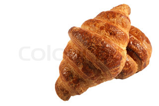 two croissant. A bakery product. A sweet roll it is isolated on a white background