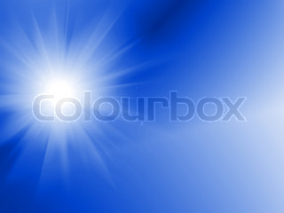 Sun Digitally Generated Image in blue sky - water