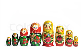 Matreshka line isolated russian doll on white