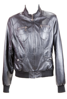 Black leather jacket insulated on white background