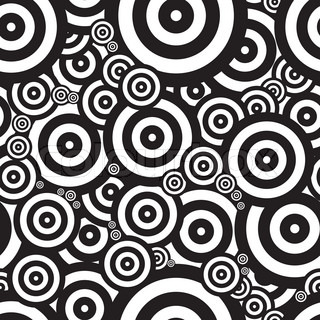 Black and white seventies inspired psychedelic retro pattern