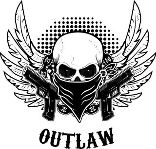Outlaw T Shirt Print Design Template Skull With Two Guns